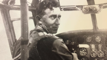 Pilot Edmund Francis Collaery in the cockpit.
