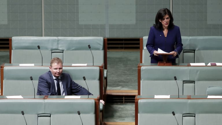 Liberal MP Craig Laundy listening as Julia Banks announces her decision to quit the party.