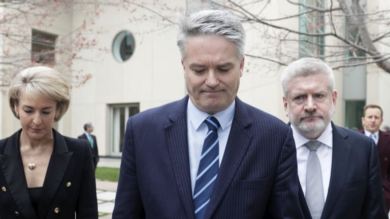 Michaelia Cash, Mathias Cormann and Mitch Fifield announce their resignations from the ministry.