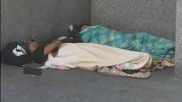 Brisbane's street homeless in the inner-city February 2018. Micah Projects estimates 80 sleep rough in the CBD each night and about 200 within 3 kilometres of the city.