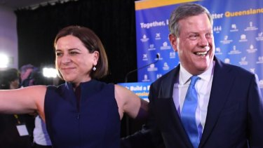 Deputy Opposition Leader Deb Frecklington, pictured with LNP leader Tim Nicholls, has put her hand up for the job as leader.