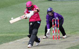 Shafali Verma flays a delivery to the leg side during her match-winning innings for the Sixers on Sunday.