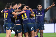 The Melbourne Storm celebrate reaching another preliminary final.
