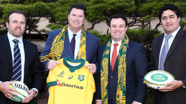 SANZAAR CEO Andy Marinos, Rugby Australia chairman Hamish McLennan, NSW Minister Stuart Ayres and former Wallaby MorganTurinuiat a Rugby Championship fixtures announcement.