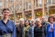 Allee Richards (left) and the booksellers who will offer her novel at a special price: Mark Rubbo (Readings), Jaye Chin-Dusting (Mary Martin), Dino Traverso (Dymocks), Diana Johnston (Hill of Content), Chris Saliba (North Melbourne Bookshop) and Anna MacDonald (Paperback Bookshop).