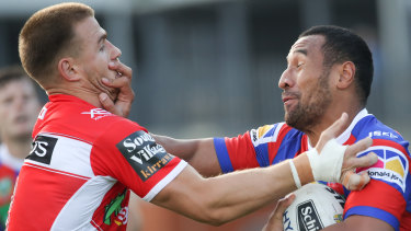 Expensive day out: Tautau Moga (right) could be fined almost $100,000 if he is found guilty.