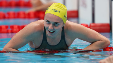 Tough as nails ... Ariarne Titmus after winning gold in the 200m freestyle.
