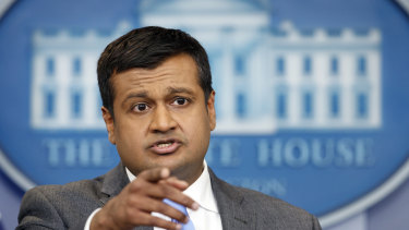 White House press secretary Raj Shah speaking in Washington on March 26.