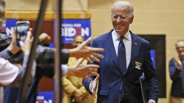 Democratic presidential candidate Joe Biden during a campaign rally in March.
