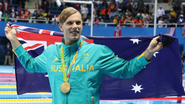 Swimmer Kyle Chalmers celebrates gold in the 100m freestyle at the 2016 Rio  Olympics.