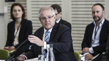 Prime Minister Scott Morrison address State Premiers and Chief Ministers during a Council of Australian Governments (COAG) meeting on Friday.
