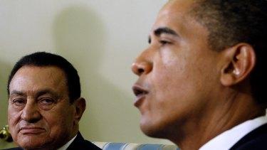August, 18, 2009: President Barack Obama meets with Hosni Mubarak in Washington.