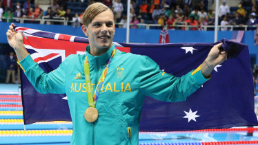 Kyle Chalmers celebrates gold in the 100m freestyle at the last Olympics in Rio.