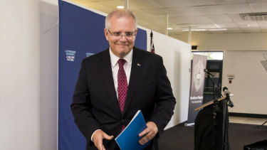Scott Morrison talked up the government's economic credentials in Brisbane on Tuesday.