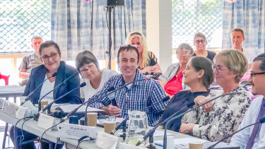 BarbaraLeadbetter(left) was among witnesses to call on the government to legalise voluntary euthanasia at a hearing in Caloundra on Friday, May 3, 2019.