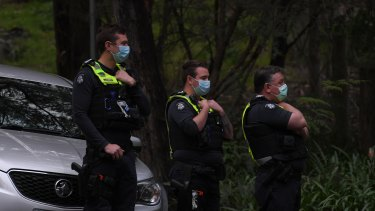 Police at the scene in Yarra Junction, where William Wall's body was found on Wednesday afternoon.