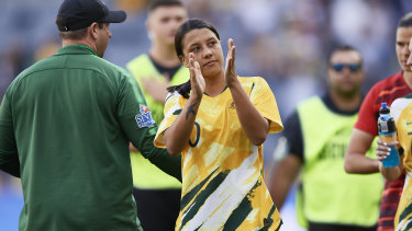 Sam Kerr gives her thanks to the record crowd that watched the Matildas beat Chile at Bankwest Stadium.