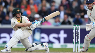 Like swatting flies: Steve Smith on day four of the fourth Ashes Test at Old Trafford.