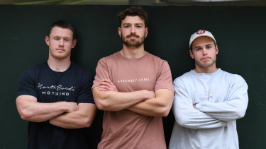 (L-R) Tom Horton, James Ramm and Will Harrison after selection in their maiden Wallabies squad last year.