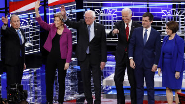 From left: Bloomberg, Warren, Sanders, former vice-president Joe Biden, former South Bend mayor Pete Buttigieg and senator Amy Klobuchar before the debate in Nevada.