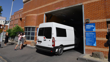 A prison van believed to be carrying George Pell arrives at the Melbourne Assessment Prison on Wednesday afternoon.