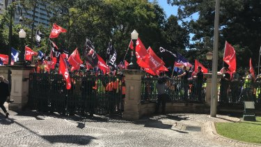 CFMEU protesters outside Queensland Parliament House on Thursday.
