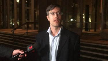 James Supple speaks outside the NSW Supreme Court on Thursday night.