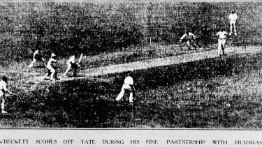 a'Beckett and Bradman batting together in the first innings.