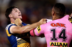 Tempers fray between Mitchell Moses and Tyrone May.