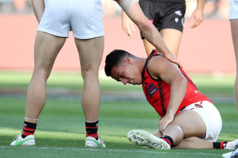 Bomber Dylan Shiel sustains a leg injury.