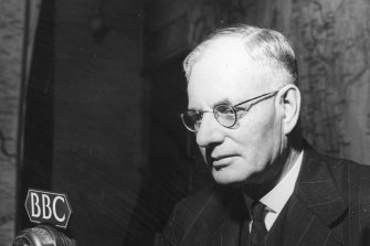 Prime Minister John Curtin pictured during a visit to London in 1944.