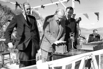 Governor General William McKell detonates the first explosives at the launch of the Snowy Mountains Hydro Electric Scheme on 17 October 1949.