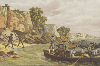 "A lithograph depicting Indigenous Australians and the arrival of Cook and his crew, titled ""Captain Cook's Landing at Botany, AD 1770""."