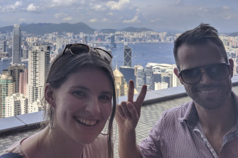 Executive producer Rachael Dexter and Richard Baker in Hong Kong.