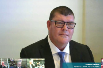 James Packer giving evidence to the NSW inquiry in October.