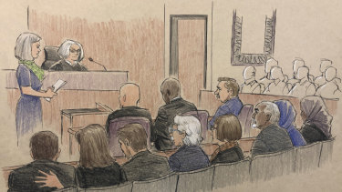 This courtroom sketch depicts former Minneapolis police Officer Mohamed Noor listening to the verdict.