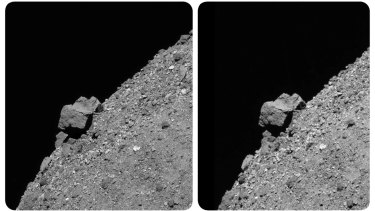 This combination of photos made available by NASA shows a set of stereoscopic images of a large(52-metre boulder that juts from asteroid Bennu's southern hemisphere and the rocky slopes that surround it.