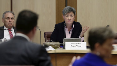 Labor senator Penny Wong puts questions to Assistant Minister for Treasury and Finance Zed Seselja on Tuesday.