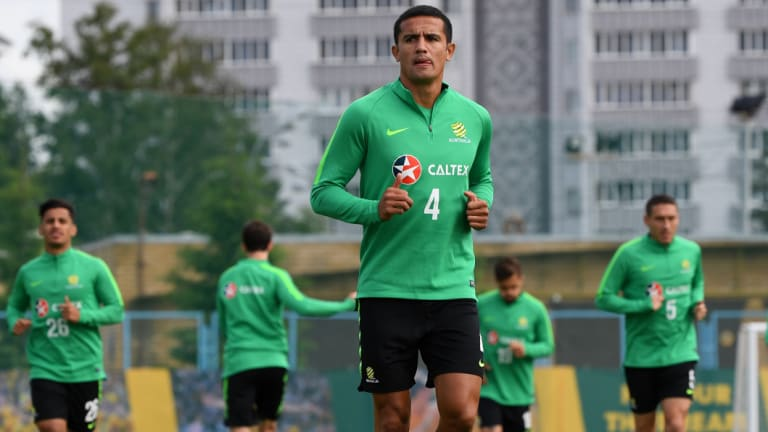 Team goal: Tim Cahill trains with the Socceroos in Kazan.