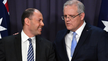 Josh Frydenberg and Scott Morrison after the leadership ballot.