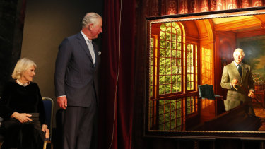 Prince Charles and Camilla, the Duchess of Cornwall unveil a portrait of His Royal Highness, by Australian-born artist Ralph Heimans.