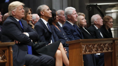 US President Donald Trump and first lady Melania, with predecessors Barack and Michelle Obama, Bill and Hillary Clinton, and Jimmy and Rosalynn Carter at the funeral of George H.W. Bush.