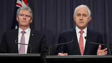 ASIO chief Duncan Lewis (left) with Prime Minister Malcolm Turnbull last year.
