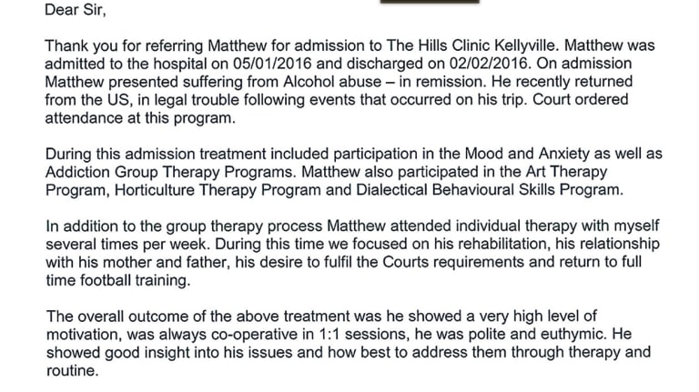 One of a number of letters detailing steps taken to address Matt Lodge's behaviour.