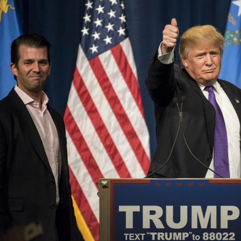 Donald Trump, right, and his son Donald Trump Jr are accused of benefiting from the scheme.
