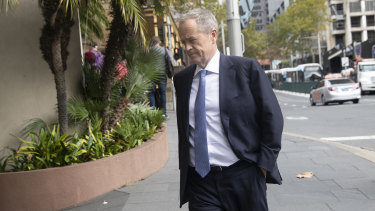 Bill Shorten in April, on his way to a private meeting with Anthony Pratt in his apartment in Sydney.
