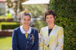 Redlands Sydney scholarship student Chloe Church with deputy principal Sarah McGarry.
