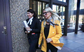 Elaine Stead, right, with her barrister Sue Chrysanthou SC.