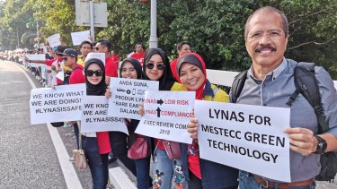Lynas workers at Kuantan protest outside Malaysia's parliament in Kuala Lumpur on Wednesday.