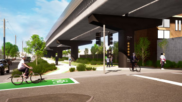 The design for the Coburg and Brunswick skyrail was released on Sunday.